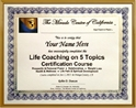 Life Coaching on 5 Topics Training Certificate