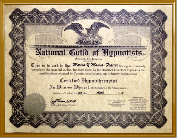 Prof. Hypnotherapy NGH Training Certificate